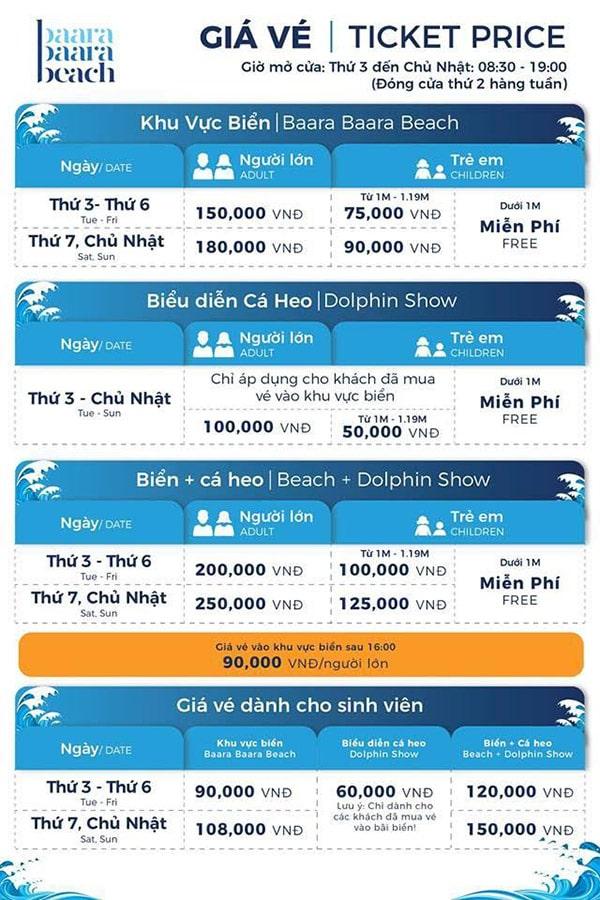 Giá vé vào bãi biển nhân tạo Baara Land